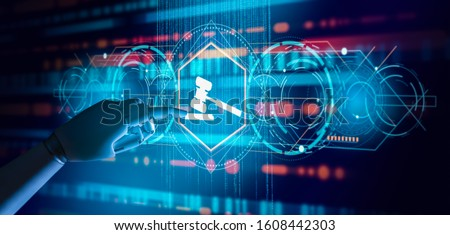 Virtual judge with Artificial Intelligence (AI) concept.Robot Hand touching Compliance Rules Law Regulation Policy Business Technology Interface.