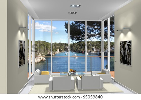 Virtual living room with a fantastic view to a small harbor