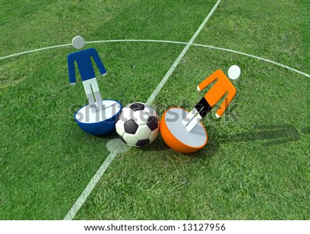 virtual player in a soccer field -3d rendering