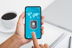 Virtual Private Network. Point of view of woman using smartphone with mobile vpn app, touching gadget screen, connecting to local network over the internet. Information and cyber security