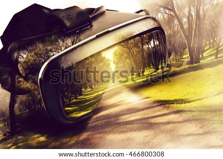 Virtual reality glasses, with three-dimensional image leaving the viewer, google's conceptual idea 3D