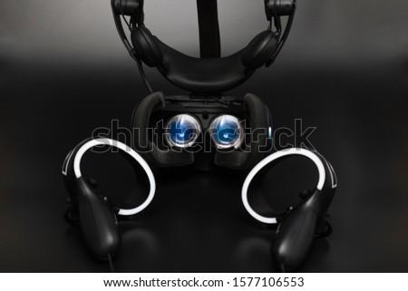 Virtual reality headset lenses, black background #1577106553