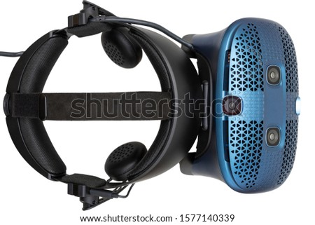 Virtual reality helmet isolated on white background, top view #1577140339
