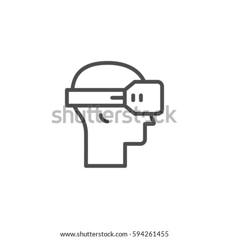 Virtual reality helmet line icon isolated on white