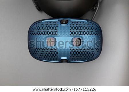 Virtual reality helmet on gray background #1577115226