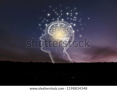 Virtual reality man with symbol neurons in brain / creative idea.Concept of idea and innovation / background night sky #1198834348