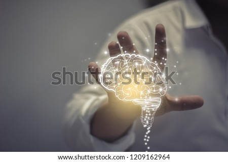 Virtual reality man with symbol neurons in brain / creative idea.Concept of idea and innovation  #1209162964