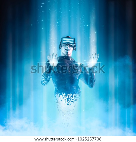 Virtual reality user avatar / 3D illustration of male figure in virtual gear materialising in cyberspace