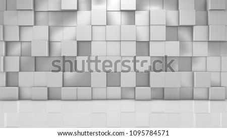 Virtual set white 3D cube render geometric pattern graphic background