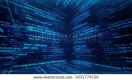 Virtual space with running code in the form of cubes 3d illustration Stock photo ©