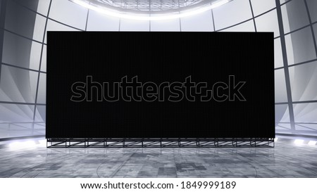 Virtual studio background with a big empty videowall display ideal for tv shows, commercials or events. Suitable on VR tracking system stage sets, with green screen. (3D rendering) Photo stock ©