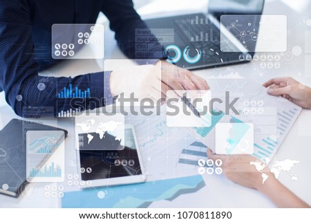 Virtual touch screen. Project management. Data analysis. Hitech technology solutions for business. Development. Icons and graphs background.  Internet and networking. #1070811890