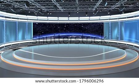 Virtual TV Studio News Set 35-2. 3d Rendering. Virtual set studio for chroma footage.