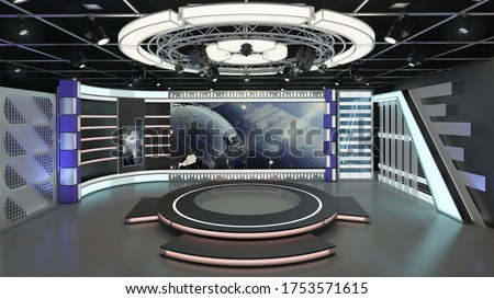 Virtual TV Studio News Set 6. 3d Rendering. Virtual set studio for chroma footage. wherever you want it, With a simple setup, a few square feet of space, and Virtual Set, you can transform any locat