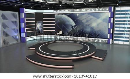 Virtual TV Studio News Set 7-3. 3d Rendering. Virtual set studio for chroma footage. wherever you want it, With a simple setup, a few square feet of space, and Virtual Set, you can transform any locat Сток-фото ©