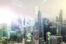 Virtual USD symbols illustration on Chicago skyline background. Trading and currency concept. Multiexposure