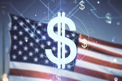 Virtual USD symbols illustration on USA flag and sunset sky background. Trading and currency concept. Multiexposure