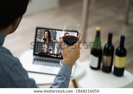 Virtual Wine Tasting Event Party On Laptop