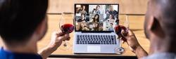 Virtual Wine Tasting Online Dinner Party On Laptop