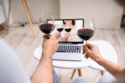 Virtual Wine Tasting Using Laptop. Online Party And Drinks