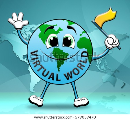 Virtual World Globe Character Represents Global Internet 3d Illustration