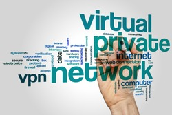 Virtuale private network concept word cloud background