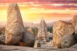 Virupaksha temple view from Hemakuta hill at sunset in Hampi, Karnataka, India