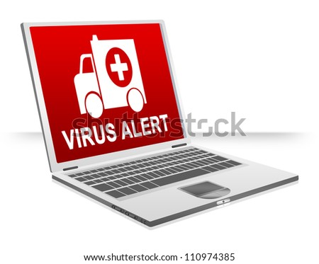 Virus Attacking Concept Present By Virus Alert and Ambulance For Computer Virus Concept Isolated on White Background