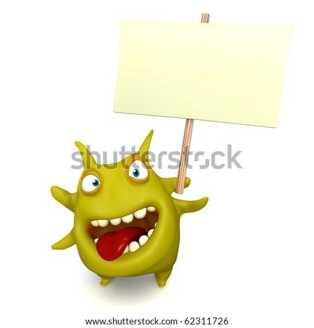 virus holding blank board