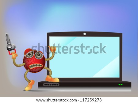 virus holding machine handsaw standing on the laptop