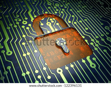 Virus Security concept: circuit board with closed padlock icon, 3d render