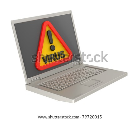 Virus warning sign on laptop screen. Computer generated 3D photo rendering.