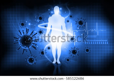 Virus with human body.  Immune defence concept. 3d illustration
