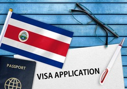 Visa application form and flag of Costa Rica