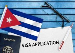 Visa application form and flag of Cuba