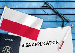 Visa application form and flag of Poland