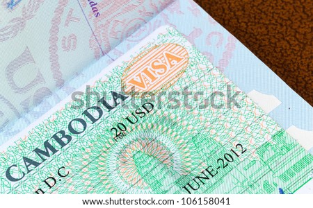 Visa in a USA passport for Cambodia