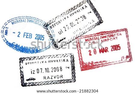 Visa passport stamp from Croatia and India