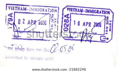 Visa passport stamp from vietnam