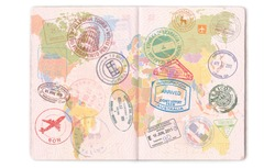 Visas, stamps, seals in the passport. World map, travel.
