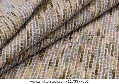 Viscose with lurex and polyamide, multicolored rectangles on white #1173377005