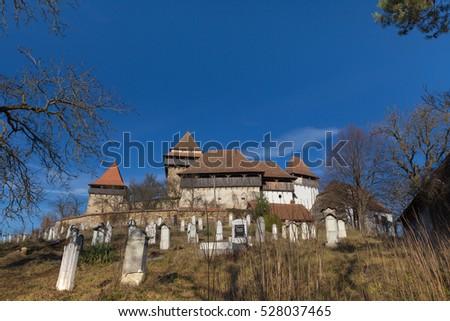 Viscri saxon church in the traditional village of Viscri, Romania. UNESCO site.