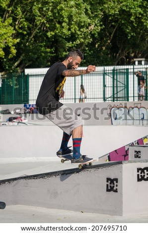 VISEU, PORTUGAL - JULY 27, 2014: Joao Alves during the 2nd Stage DC Skate Challenge by Fuel TV.