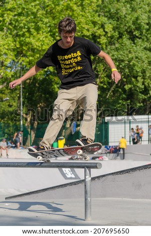 VISEU, PORTUGAL - JULY 27, 2014: Jorge Simoes during the 2nd Stage DC Skate Challenge by Fuel TV.