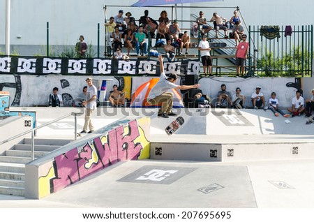 VISEU, PORTUGAL - JULY 27, 2014: Nuno Cardoso during the 2nd Stage DC Skate Challenge by Fuel TV.