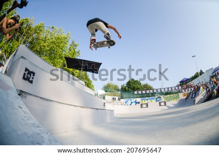 VISEU, PORTUGAL - JULY 27, 2014: Ruben Rodrigues during the 2nd Stage DC Skate Challenge by Fuel TV.