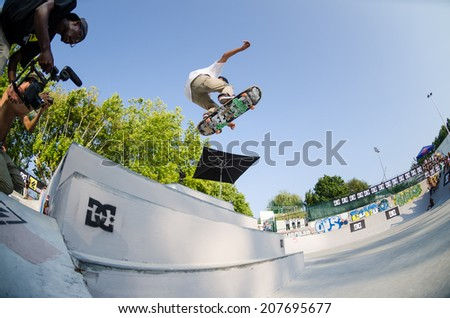VISEU, PORTUGAL - JULY 27, 2014: Tiago Pinto during the 2nd Stage DC Skate Challenge by Fuel TV.