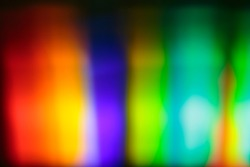Visible spectrum of light: a prism disperses a beam of white light and wavelengths in the form of colors visible to the human eye are separated and projected onto a screen.