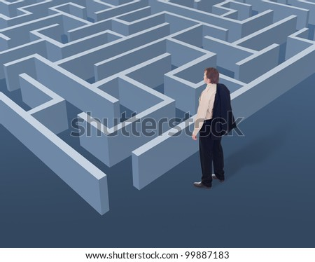Vision and strategic thinking in business concept - businessman looking to a maze from above