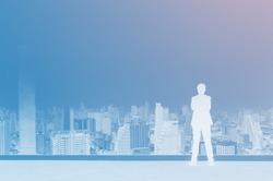 Vision concept. Abstract silhouette successful businessman standing with hands crossed on chest, On top of building and looking looking at city. Effect color strange.